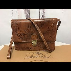 Patricia Nash Lanza Map Brown Leather Crossbody